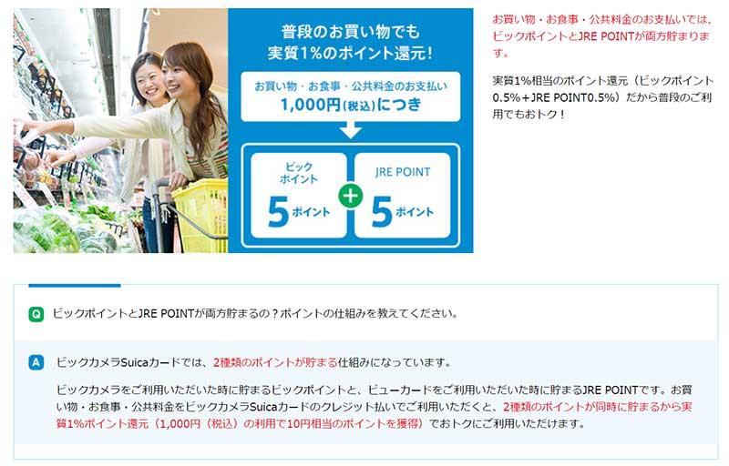 ビックカメラ・コジマ・ソフマップ以外のお買い物でも、 実質1%相当のポイント還元!